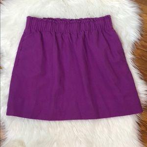 J. Crew Stretch Waist Fuchsia Wool Mini Skirt